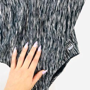 Nike printed black one piece bathing suit